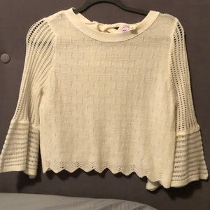 alya cream crop sweater with tie back size S